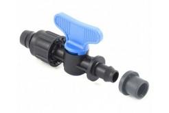 Мини-кран стартовый с накидной гайкой и со штуцером с резиновым уплотнением 17*PE-PVC PN4 Plast Project (4244.0170)